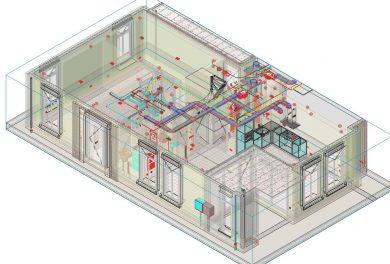 Revit 3D aanzicht appartementen met alle installaties